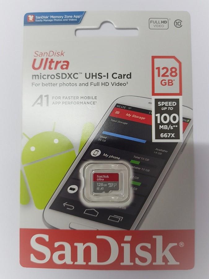 Thẻ nhớ MicroSDXC SanDisk Ultra A1 100MB/s 128GB - Hàng Nhập Khẩu