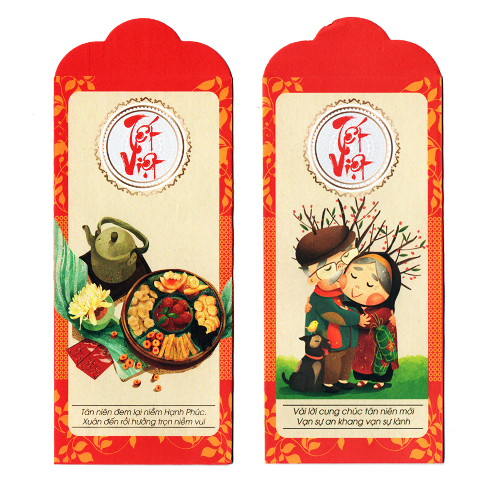 Bộ 6 bao lì xì Chúc Xuân Tết Việt