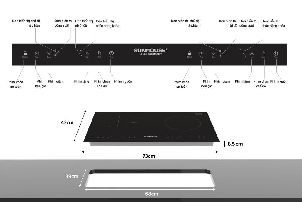 Bếp đôi điện từ hồng ngoại Sunhouse SHB9105MT - Hàng Chính Hãng