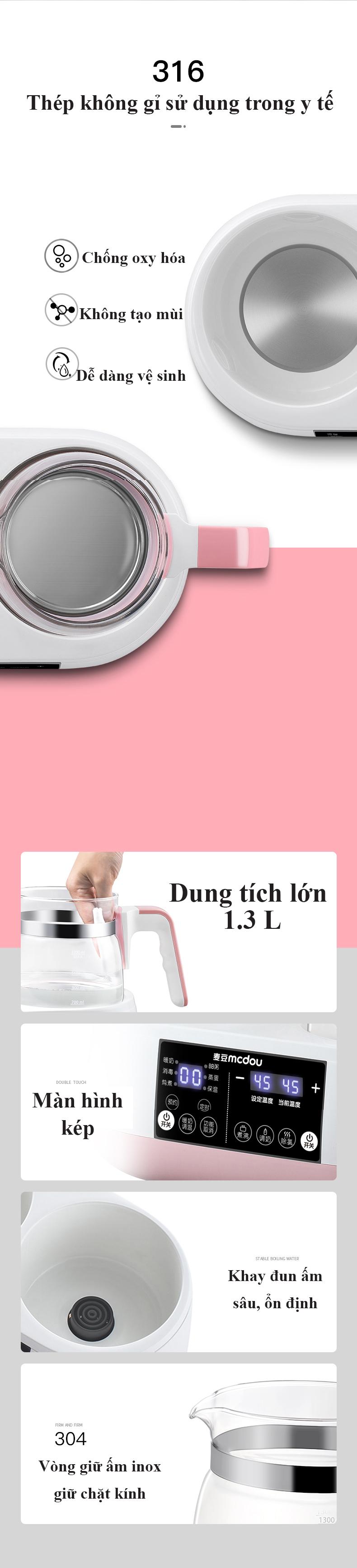 Bình đun nước siêu tốc và giữ ấm nước để pha sữa thế hệ mới kèm nồi hầm cháo đa năng 8in1
