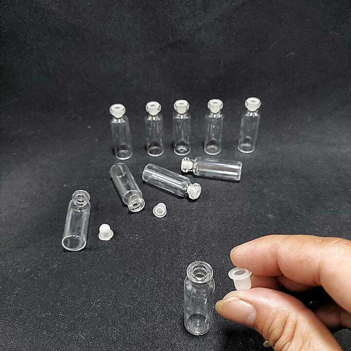Lọ đựng tinh dầu thủy tinh 3ml (combo 10 lọ) mẫu Trụ Tròn - Nắp nhựa trắng – Lọ chiết nước hoa , Lọ thủy tinh nhỏ đựng  serum, mật gâu, dược phẩm, hóa chất, kim tuyến