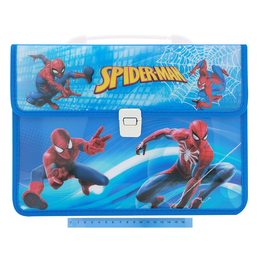 Combo Cặp Học Sinh 2 Ngăn Và Thước Nhựa - Hình Spiderman