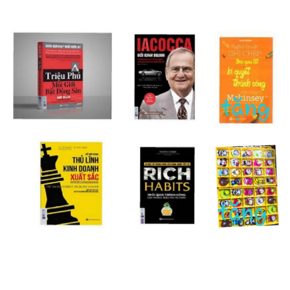 Combo 4 cuốn : Triệu phú môi giới bất động sản + IACOCCA đời kinh doanh + Rich Habits thói quen thành công+ Để trở thành thủ lĩnh kinh doanh xuất sắc ( tặng 1 giá đỡ điện thoại iring+nghệ thuật ghi chép )