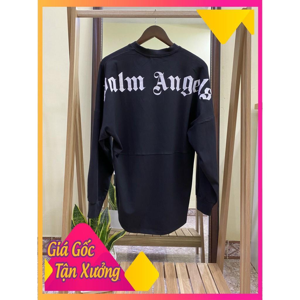 Áo thun Palm Angels Sweater ( lưng áo ), áo phông dài tay form rộng Hottrend2020 ( Nam, Nữ ) ( Màu Đen )