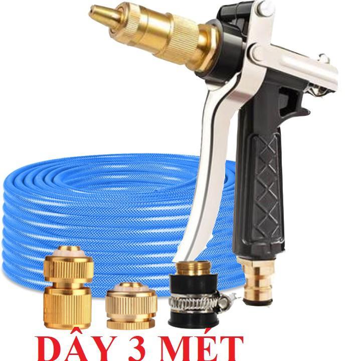 Bộ dây vòi xịt nước rửa xe, tưới cây .tăng áp 3 lần,loại 3m,5m 206236 đầu đồng,cút đồng,nối đồng+ tặng mở chai