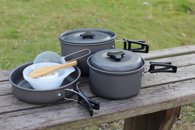 Bộ nồi nấu nướng dã ngoại, cắm trại, du lịch 3-4 người DS-300