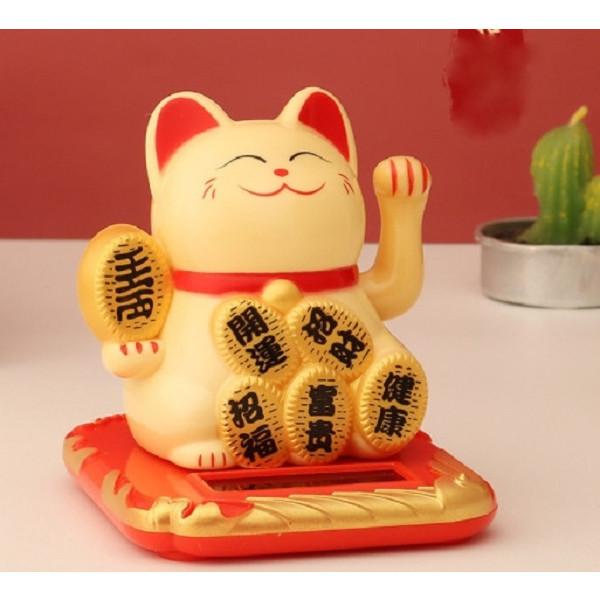 Mèo may mắn vẫy tay năng lượng mặt trời thỏi vàng may mắn(Vàng)