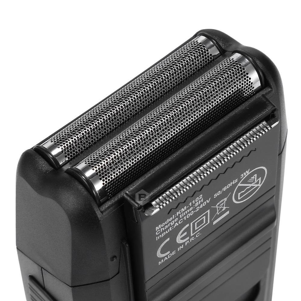 Máy cạo râu Kemei KM-1102 lưỡi kép chuyên dụng cạo tỉa râu, cạo đầu, fade tóc có đầu tỉa phụ dùng để tỉa tóc mai, ria mép có túi đựng tiện lợi mang đi, máy sử dụng pin sạc