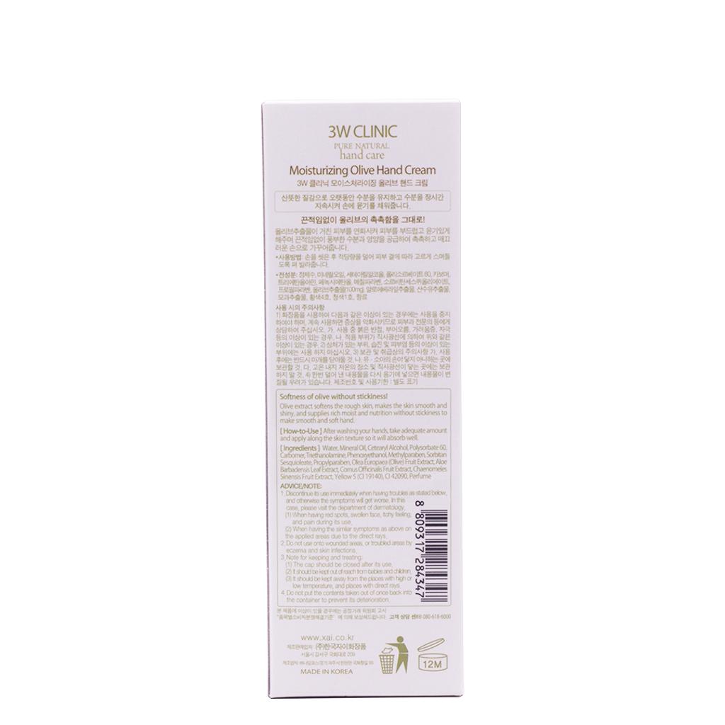 Kem dưỡng da tay Olive Hàn Quốc cao cấp 3W Clinic Olive Hand Cream (100ml) – Hàng chính hãng