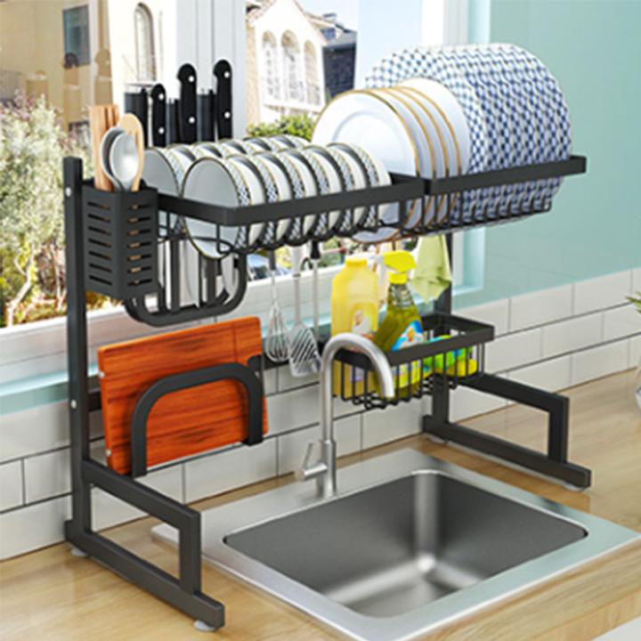 kệ úp bát KN 11, kệ úp chén đa năng, kệ để trên bồn rửa, phiên bản dài 85cm Chất liệu sắt