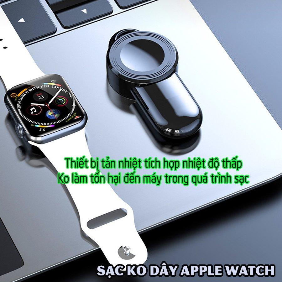 Đế Sạc Không Dây cho đồng hồ thông minh Apple Watch 38/40/42/44mm Series 1/2/3/4/5/6/Se cổng cắm USB cao cấp loại bỏ túi (Mã 887) - Trắng, Đen.
