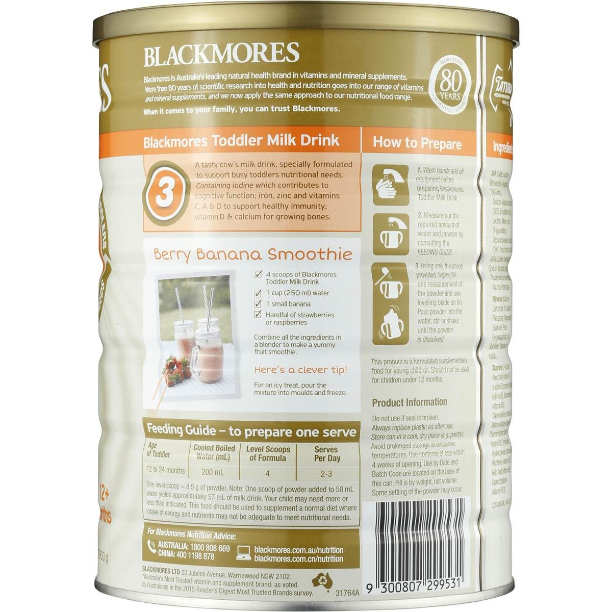 Sữa bột công thức Blackmores Toddler Milk Drink Stage 3 cho bé từ 12 tháng tuổi trở lên (900g)