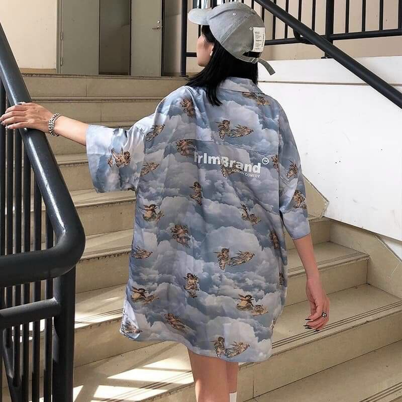 Áo sơ mi nữ ngắn tay chất vải voan lụa cao cấp in hình họa tiết siêu dễ thương