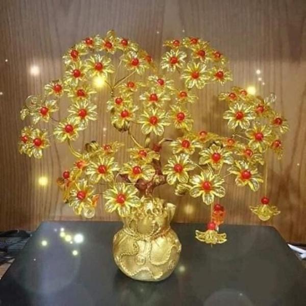 Cây kim tiền phát tài phát lộc đế túi vàng 7 cành trang trí phòng khách bàn thờ