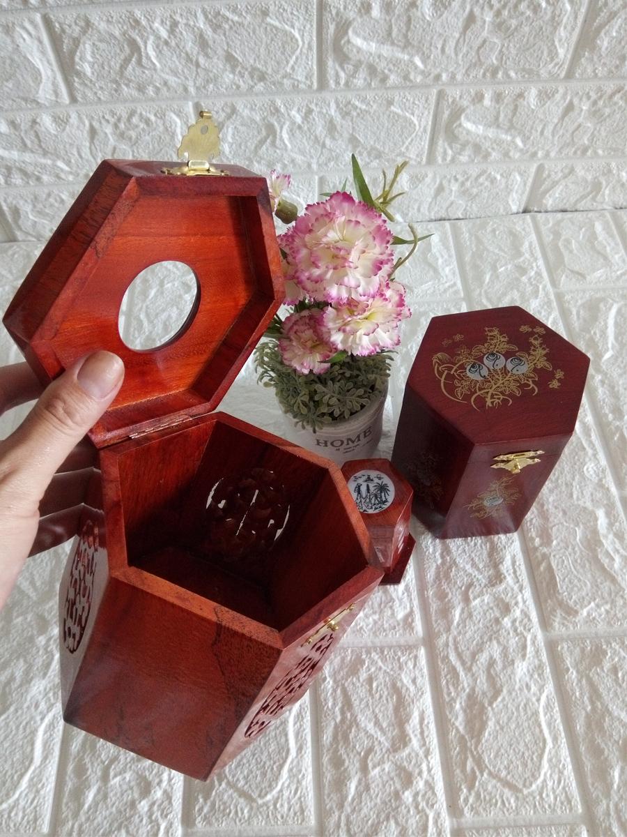 Bộ 3 món tiện ích gỗ hương Hộp Trà trung,hộp tăm,hộp giấy lục lăng - CGLL03
