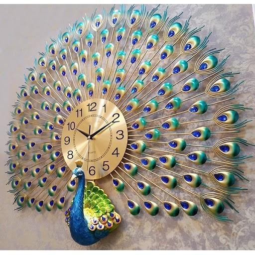 Đồng hồ treo tường Decor hình chim công kích thước 70x75cm GV6689