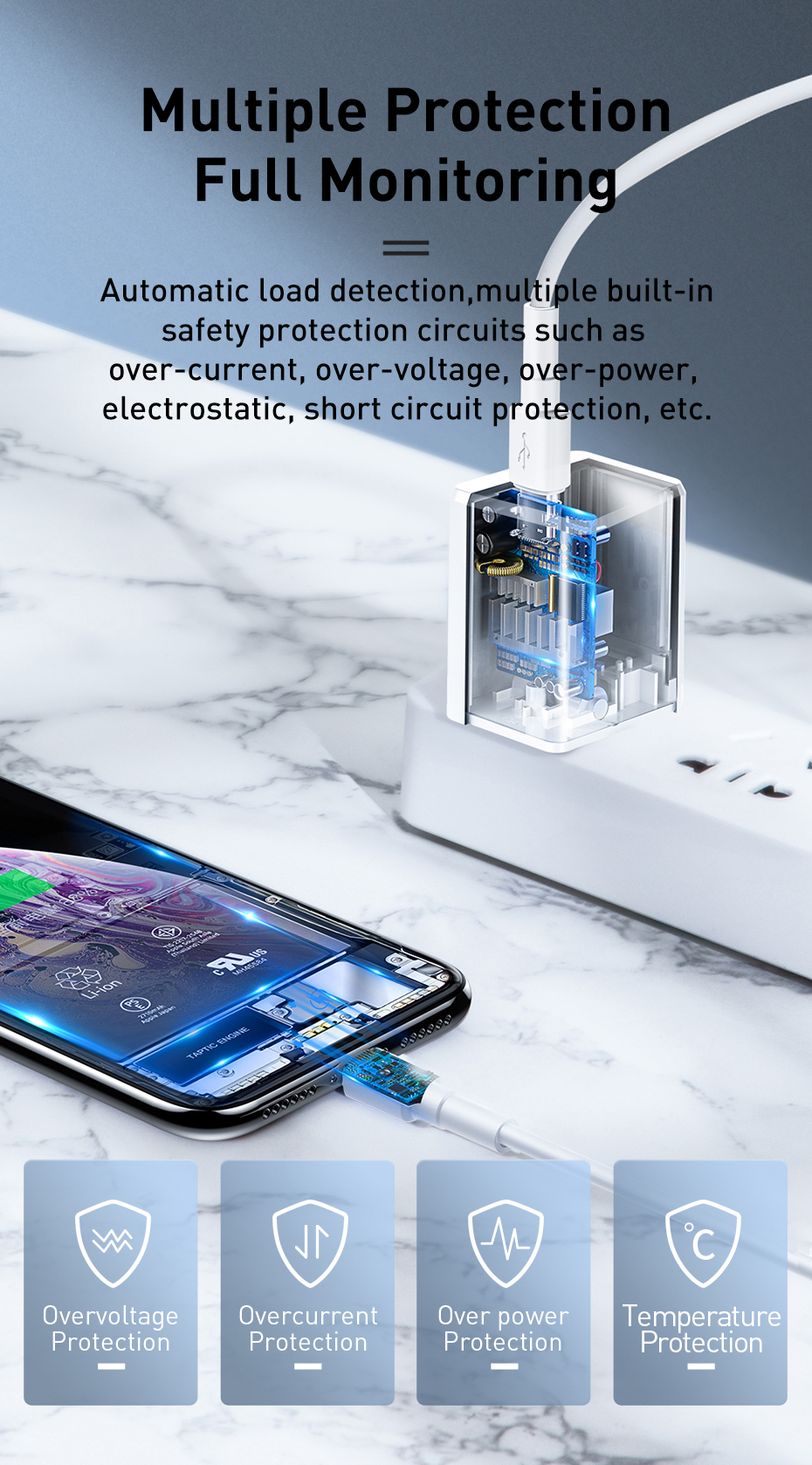 Củ sạc nhanh cho iPhone 7/8 Plus/X/XS/XS Max Baseus Traveler Series PD(Type-C Interface)Charger 18W(US)CCXZ-02 - Hàng Chính Hãng - White
