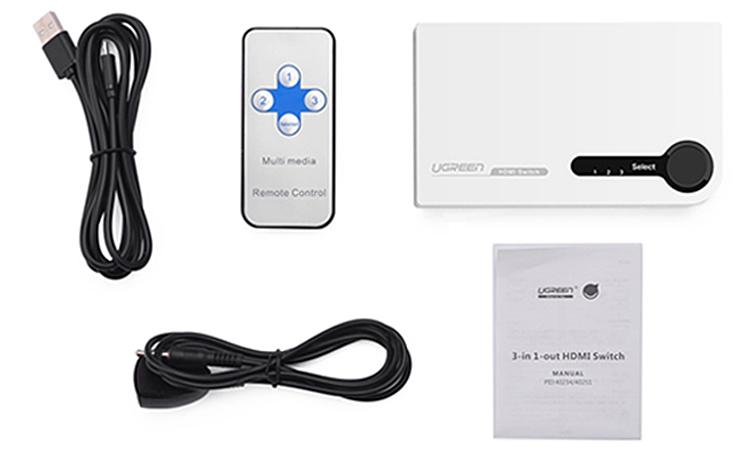 Bộ Switch Ugreen Vào 3 HDMI Ra 1 HDMI 40234 - Hàng Chính Hãng
