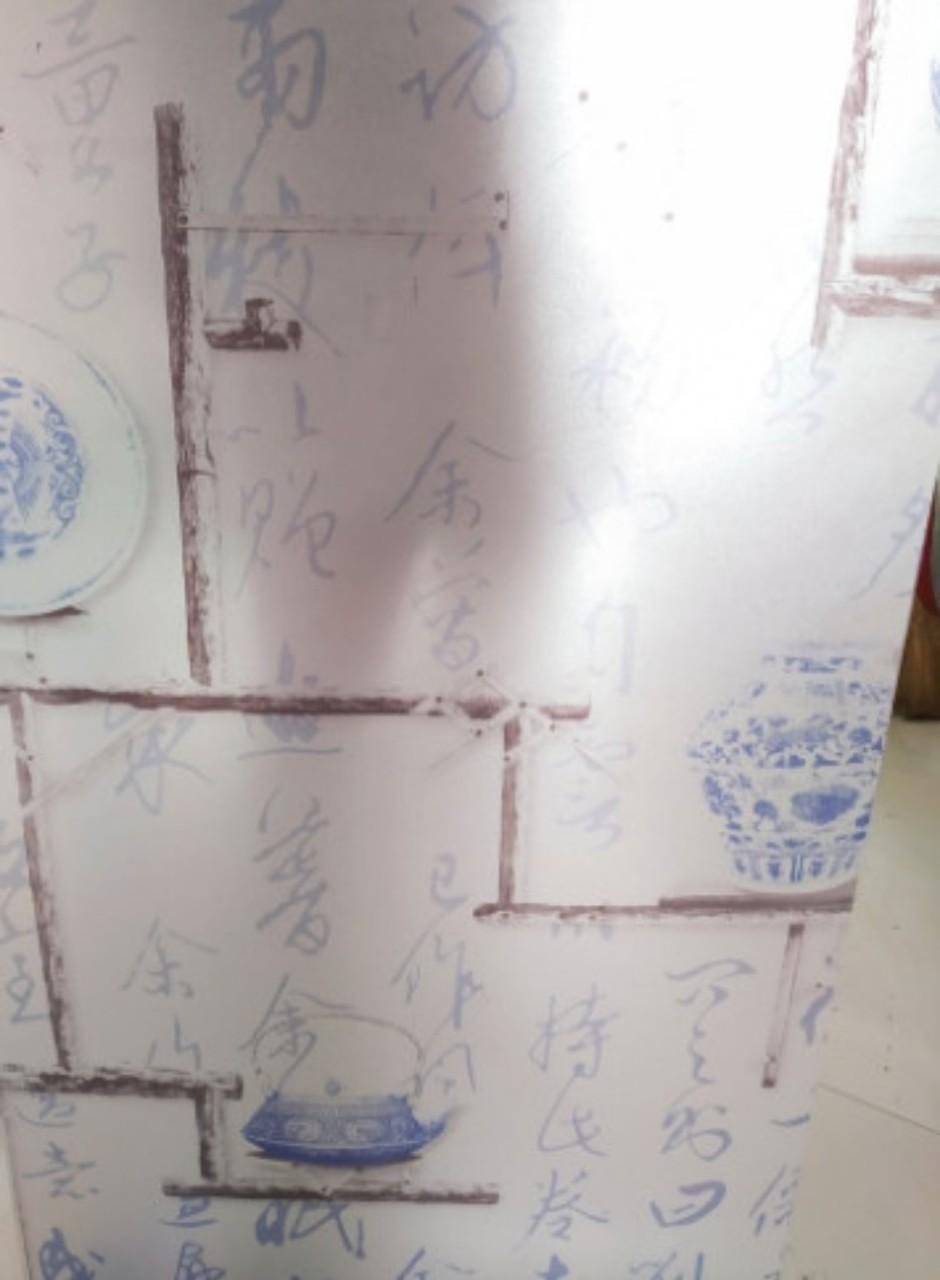 5m Decal dán kính khổ 45cm bình gốm xanh keo sẵn bóc dán