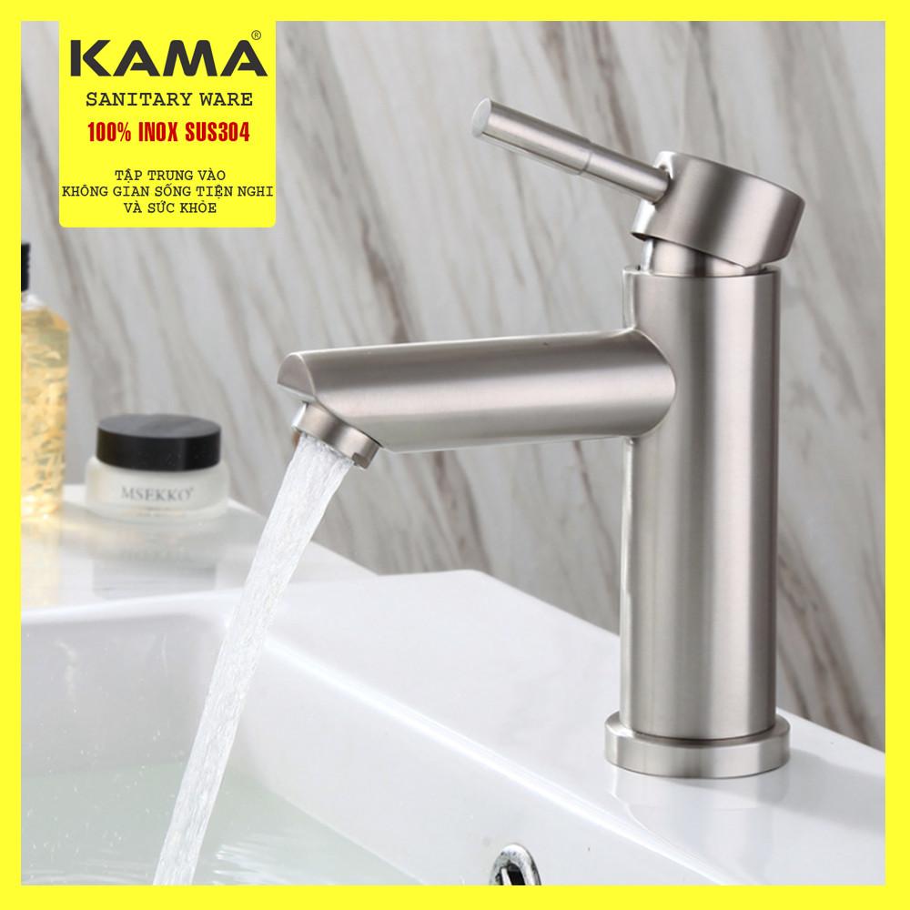 Vòi lavabo nóng lạnh inox 304 KAMA PT02 -  thân cao 20 cm, tặng kèm bộ dây cấp nước nóng lạnh 60 cm, vòi rửa mặt nóng lạnh phù hợp với mọi lavabo, Hàng mới 2020