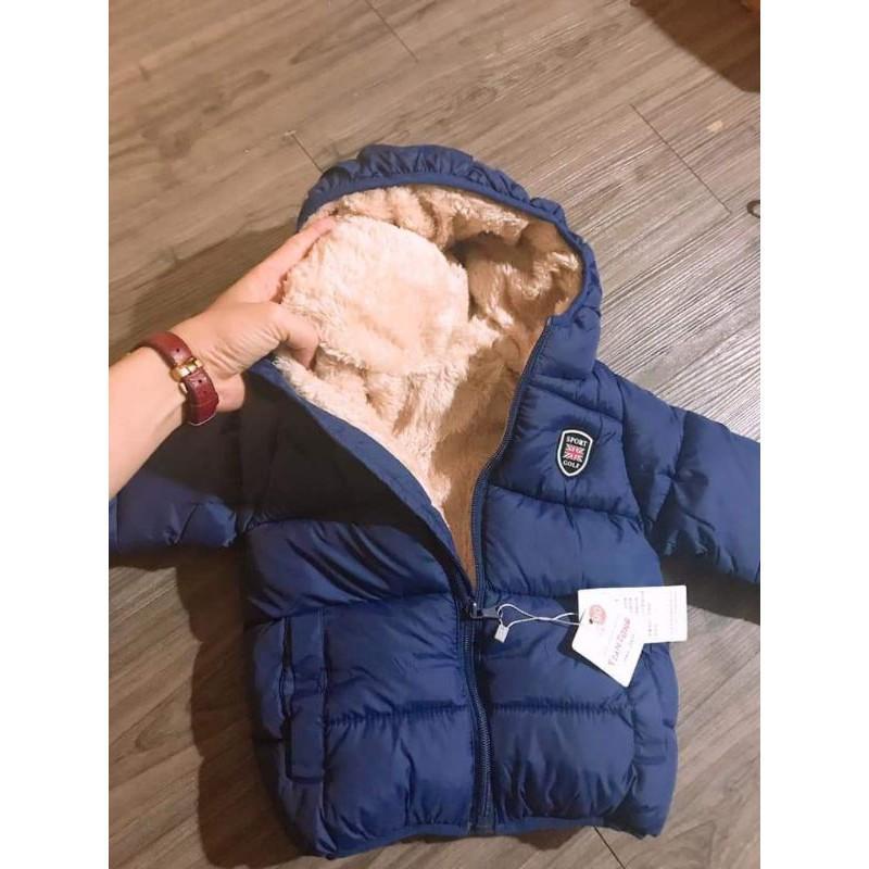 Áo phao lót lông (nỉ) cừu quảng châu cao cấp cho bé 8-25kg