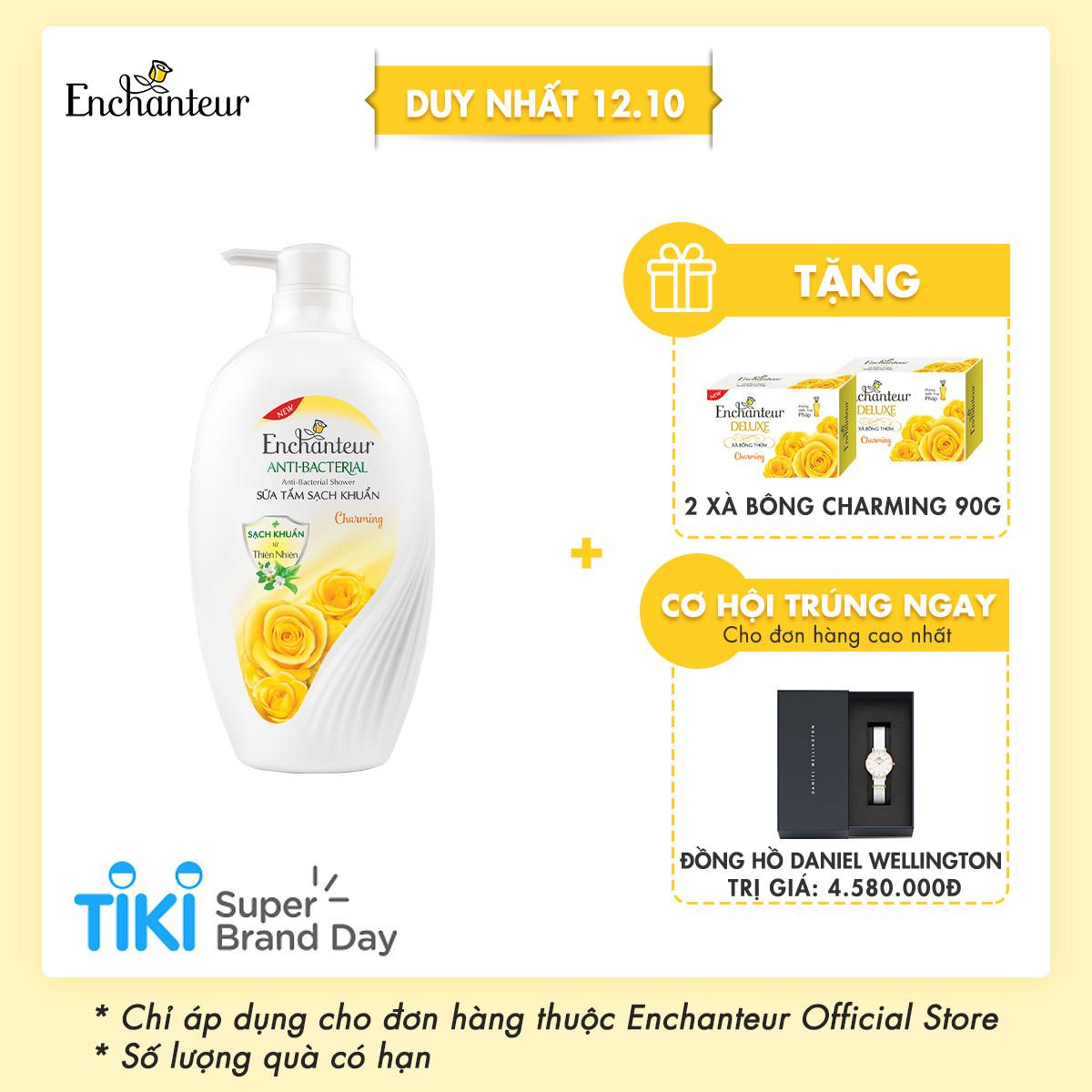 Sữa tắm sạch khuẩn từ thiên nhiên Enchanteur Charming Anti-Bacterial 650gr