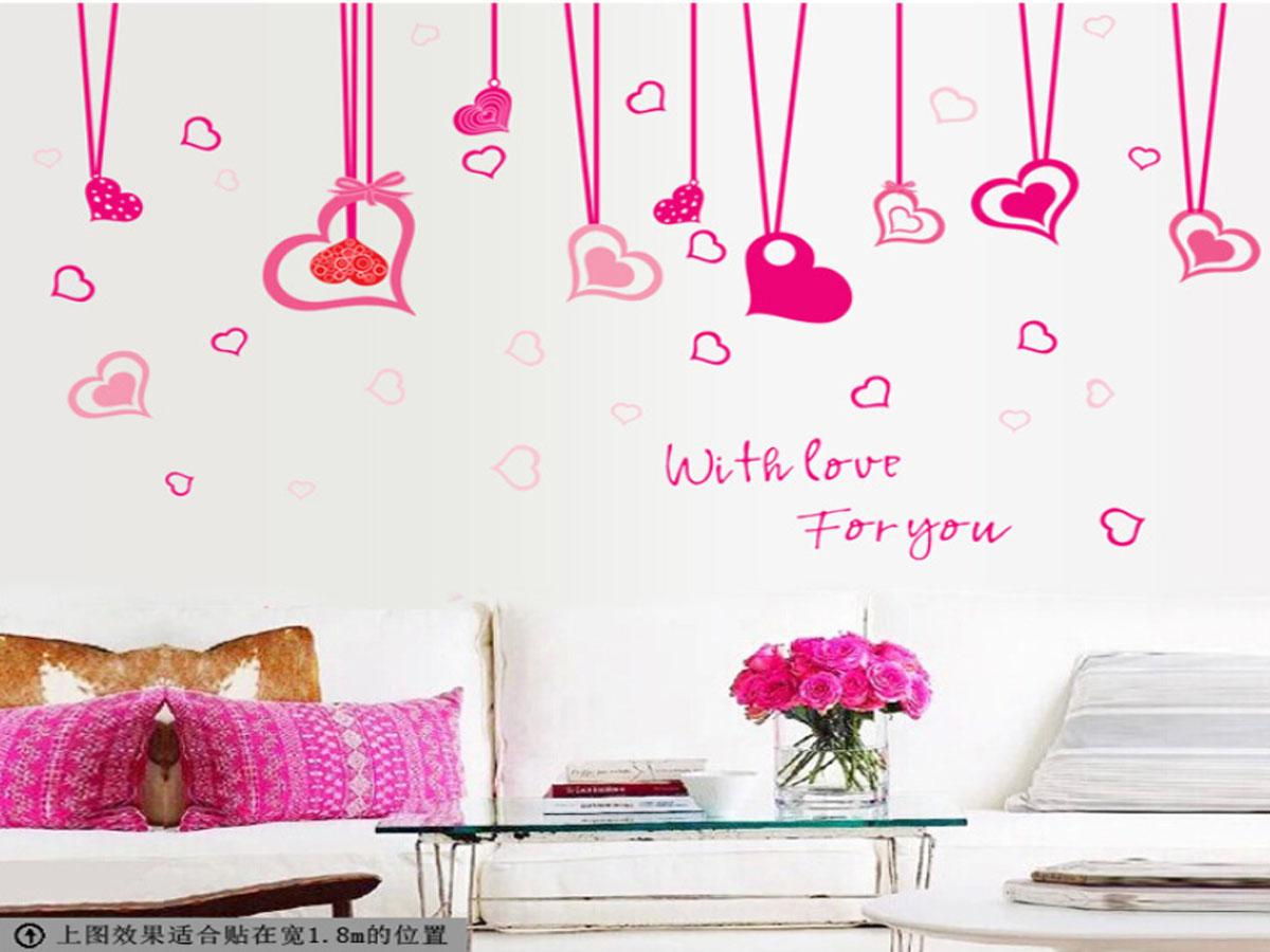 Decal dán tường dây trái tim tình yêu