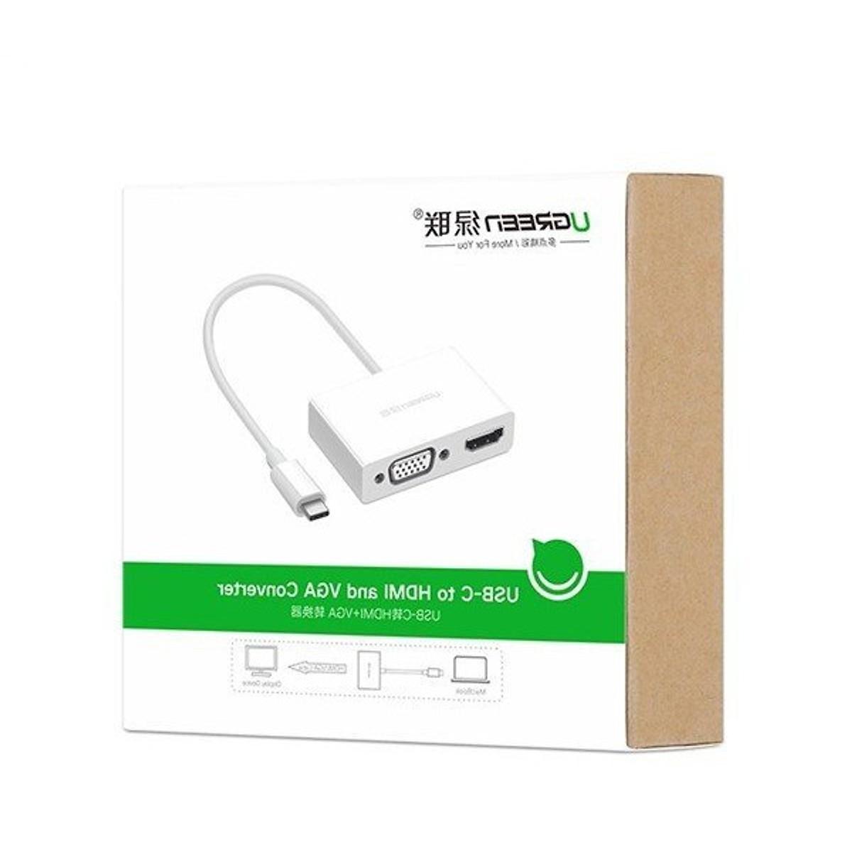Cáp chuyển Đổi USB Type C sang HDMI và VGA Ugreen 30843 - Hàng Chính Hãng (Tặng kèm tai nghe điện thoại)