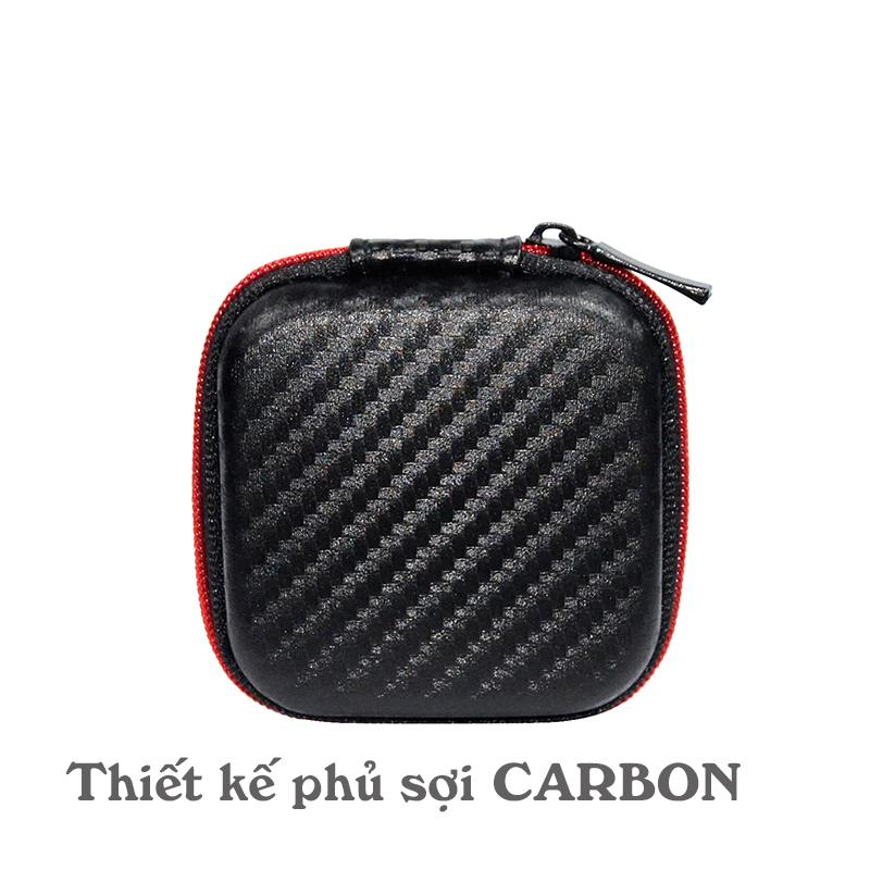 Hộp đựng tai nghe, cáp sạc Sợi Carbon Vuông cho phụ kiện di động (Có lưới bên trong)