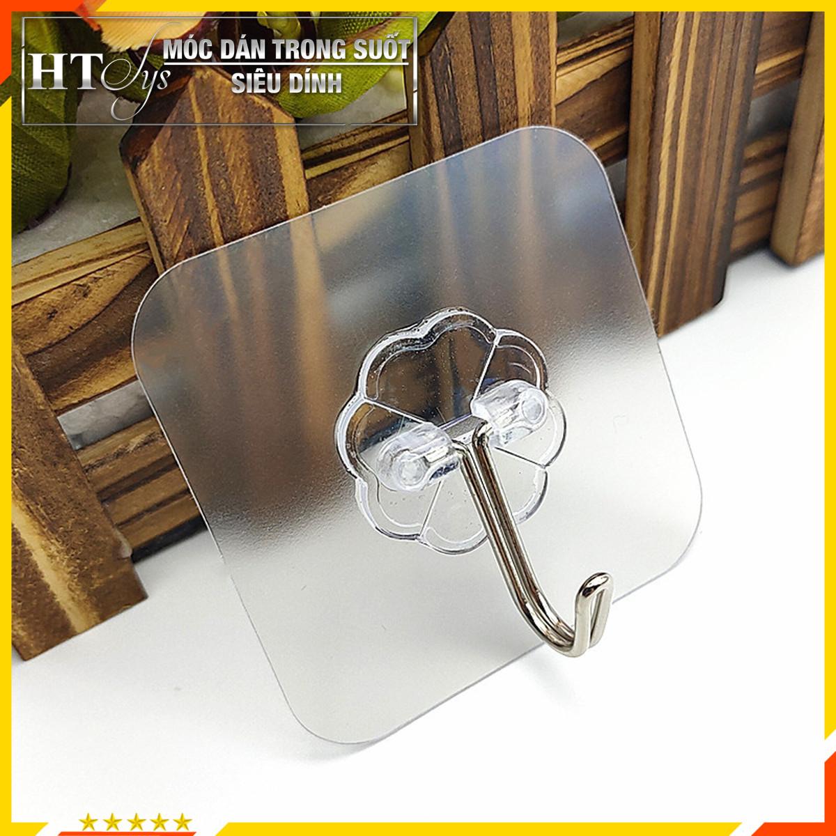 Bộ 10 móc dán tường HT SYS - Móc dán tường siêu dính, siêu chắc, siêu chịu lực - Màu trong suốt - 6cmx6cm