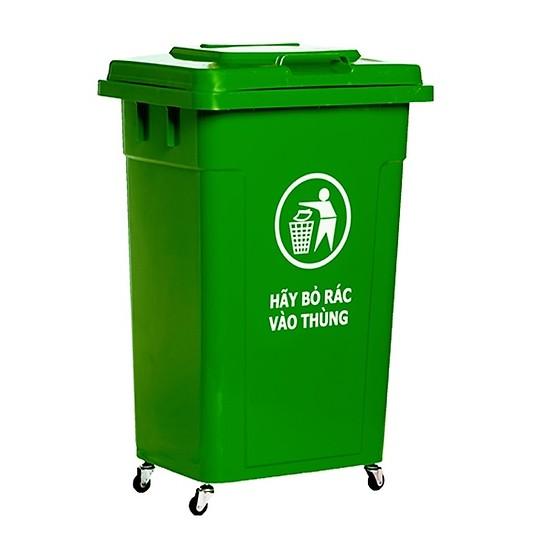 Thùng rác nhựa công nghiệp HDPE 60l có bánh xe Song Long- Loại dầy dặn