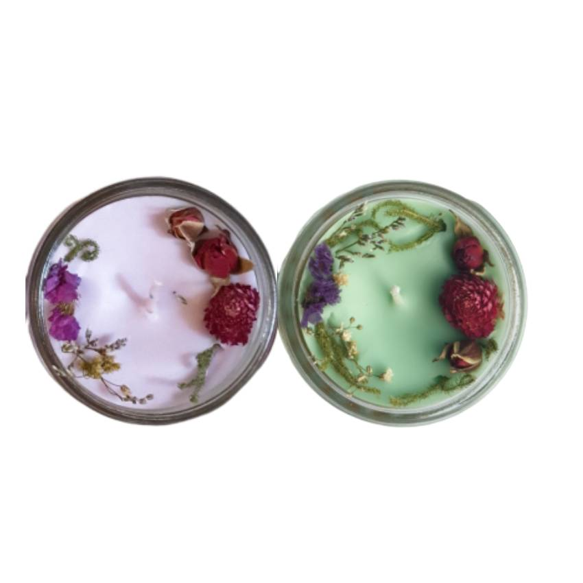 Combo 2 nến thơm tinh dầu 100g: 1 lavender, 1 hương thảo, giúp thư giãn, thơm phòng khử mùi, handmade