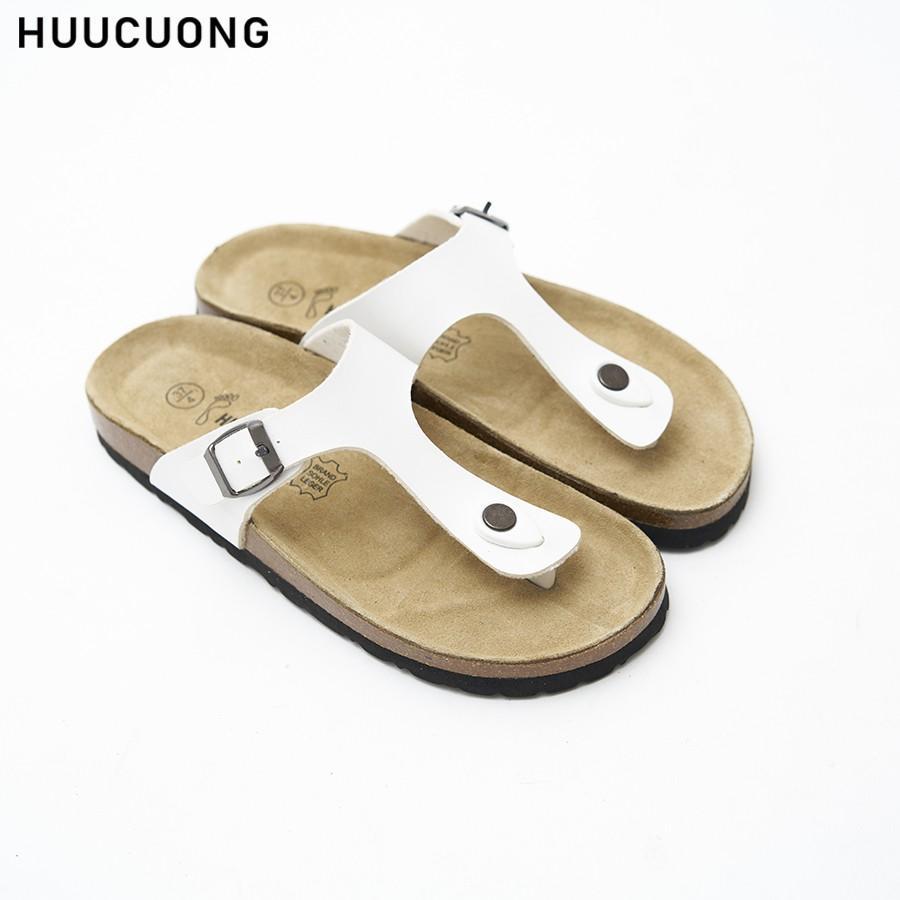 Dép Huucuong kẹp ngón trắng đế trấu