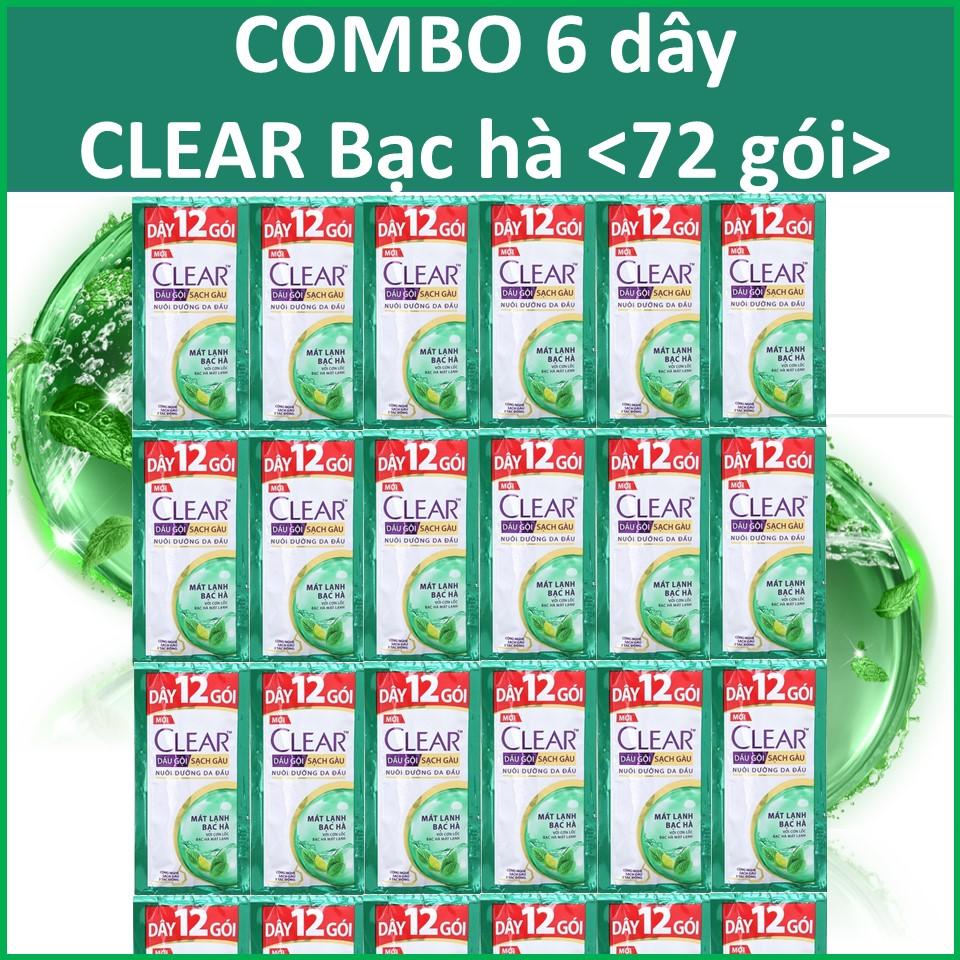 COMBO 6 dây dầu gội Clear Bạc hà 12 gói x6