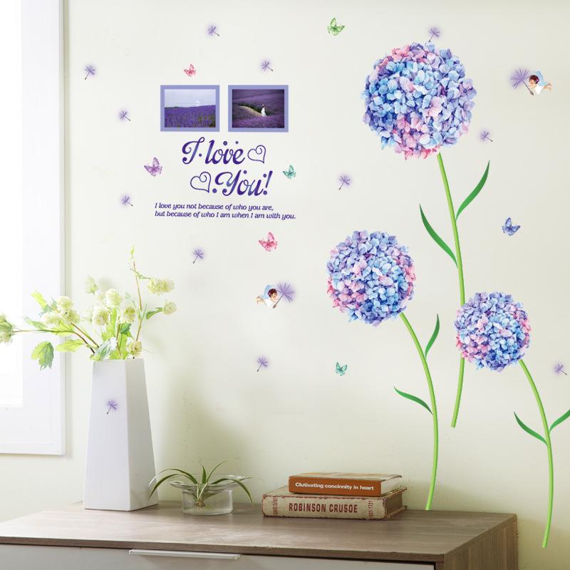 Decal dán tường hoa cẩm tú cầu tím ZOOYOO SK9124B