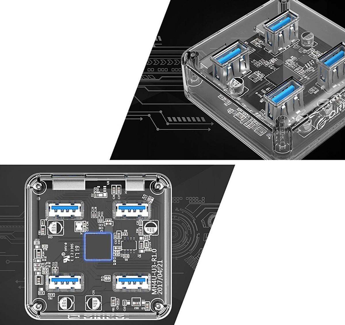 Bộ Hub Chia 4 Cổng USB 3.0 Orico MH4U - Hàng nhập khẩu