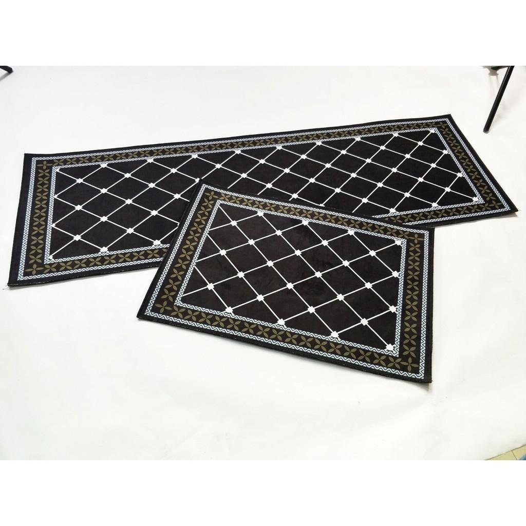 Bộ 2 Tấm Thảm Lót Sàn Chống Trượt Cao Cấp 40x60cm và 40x120cm Cho Phòng Bếp, Phòng Tắm, Phòng Ngủ Phong Cách Châu Âu