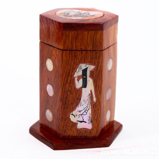 Lọ đựng tăm - hũ tăm gỗ hương khảm cô gái - loại đẹp