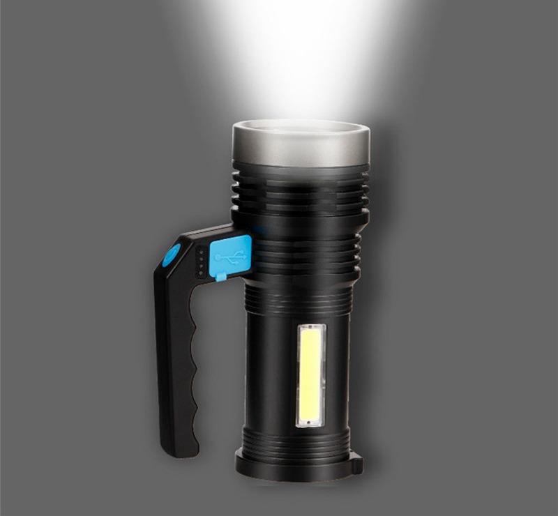 Đèn pin rọi xách tay siêu sáng chống thấm nước, 4 chế độ sáng, pin sạc nhiều lần