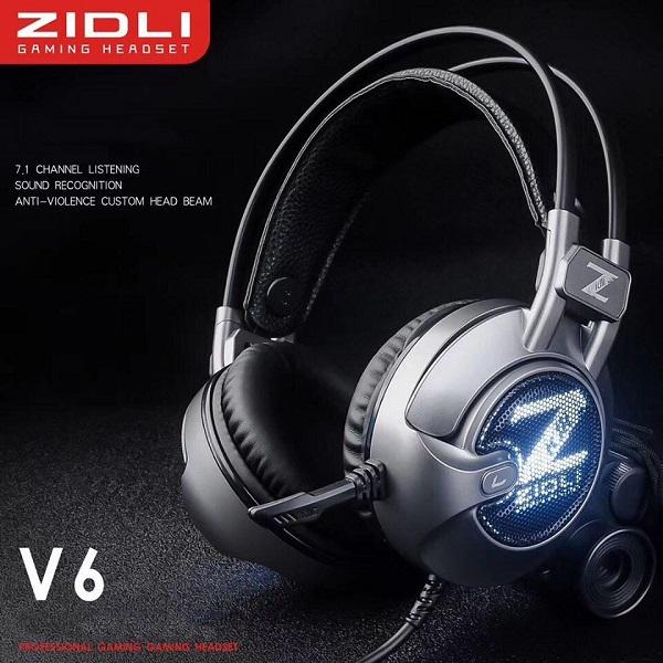 Tai nghe có dây  Gaming Zidli V6 (Sound 7.1, Led hô hấp, USB ) Đen Xám _ Hàng chính hãng