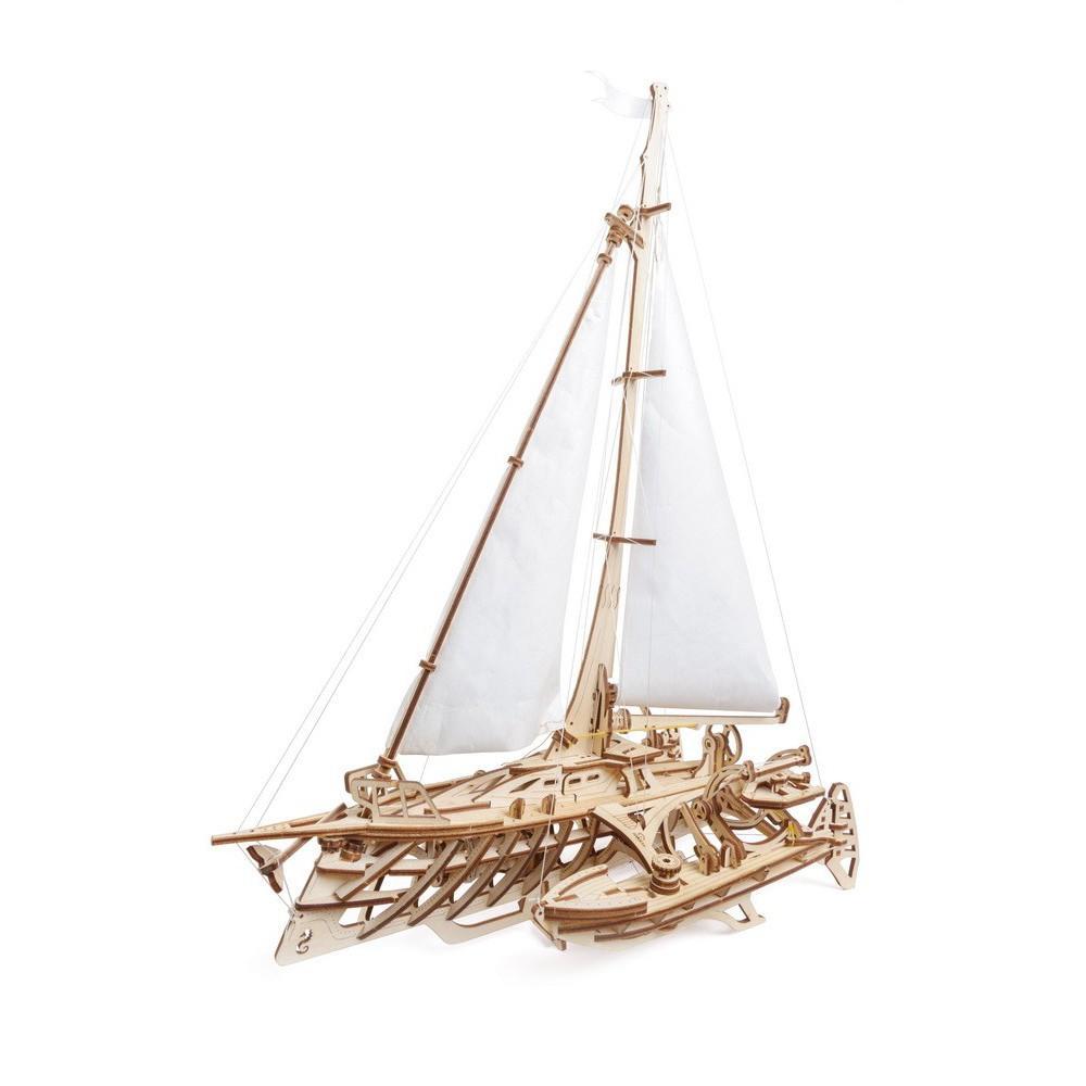 Mô hình gỗ cơ khí, Ugears Trimaran - Thuyền buồm cánh tam giác, mô hình lắp ráp 3D, chính hãng UGEARS, nhập khẩu nguyên bộ từ EU, đồ chơi trí tuệ