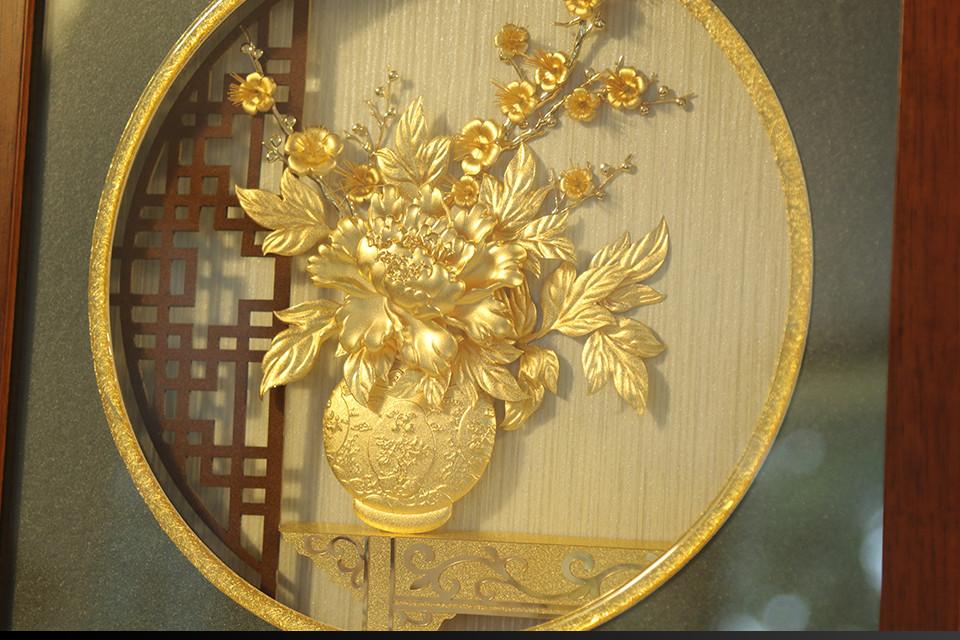 Quà tặng sếp nữ cao cấp - Tranh hoa Mẫu Đơn dát vàng 24k