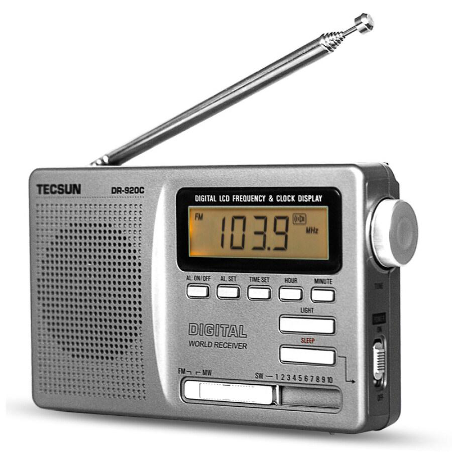 Tecsun DR920C radio full band elderly portable radio semiconductor college entrance examination English four six campus radio digital display silver gray
