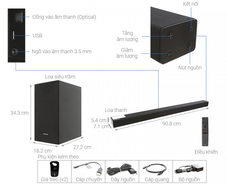 Thông số kỹ thuật Loa thanh soundbar Samsung 2.1 HW-R450 200W