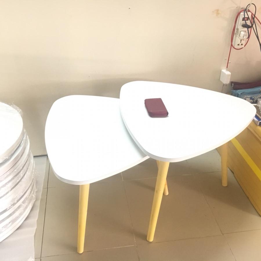 Pk - Cặp bàn tam giác gỗ sofa phòng khách 60-60, bàn trà, bàn cafe, coffee, cà phê, bàn salon, sopha