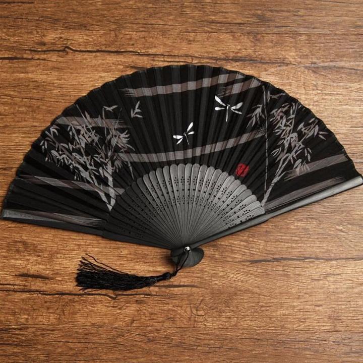 Quạt xếp cầm tay phong cách Trung Quốc quạt cổ trang mẫu trúc bướm nền đen tặng ảnh thiết kế Vcone