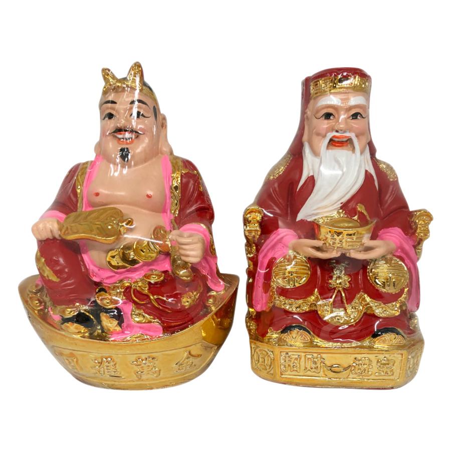 Tượng Thổ Địa Và Thần Tài Đỏ PT0059 (6inch)