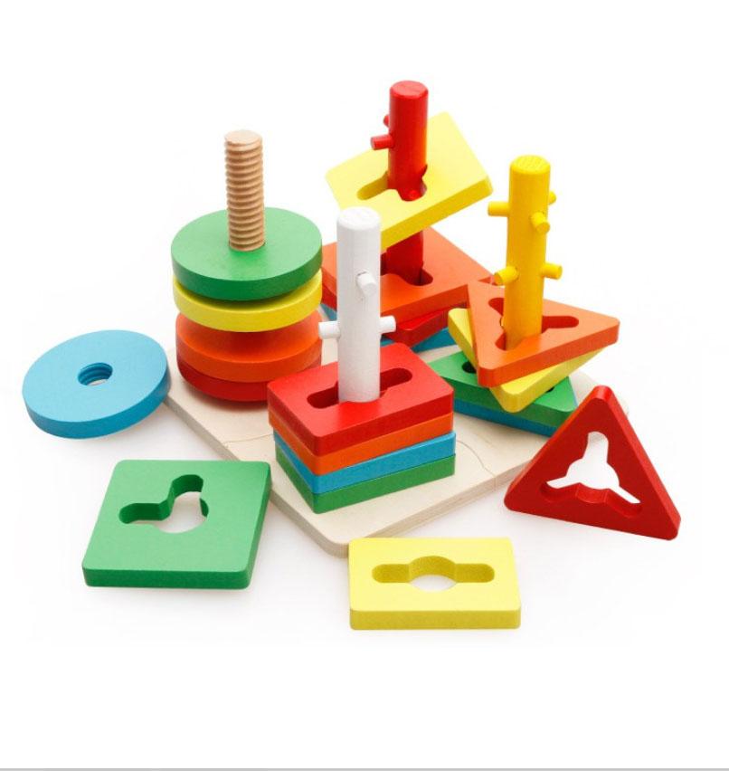 Đồ chơi gỗ - thả trụ hình khối ziczac