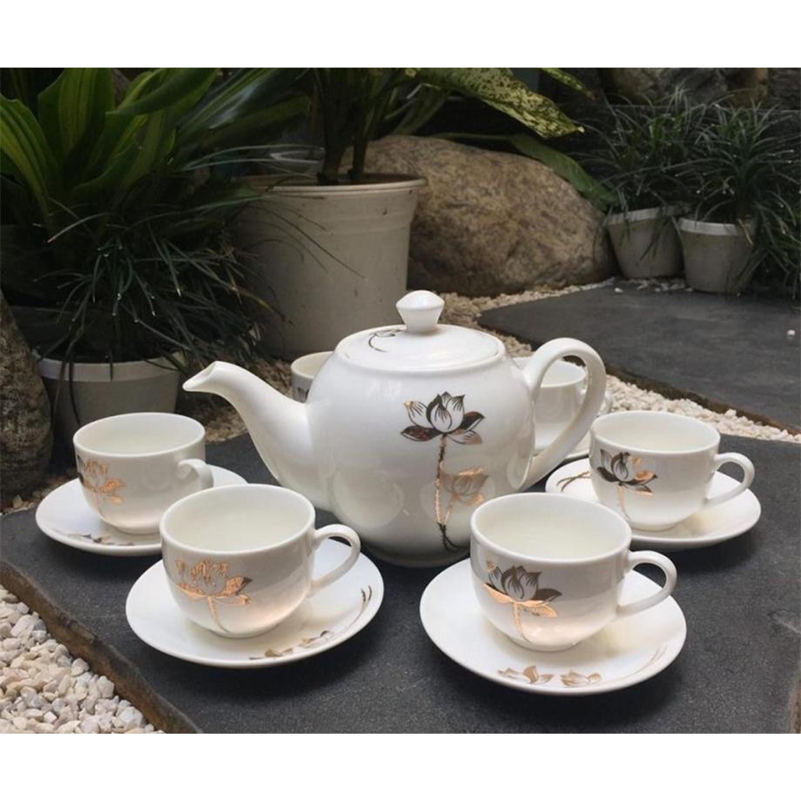 Bộ tách trà sứ hình hoa sen