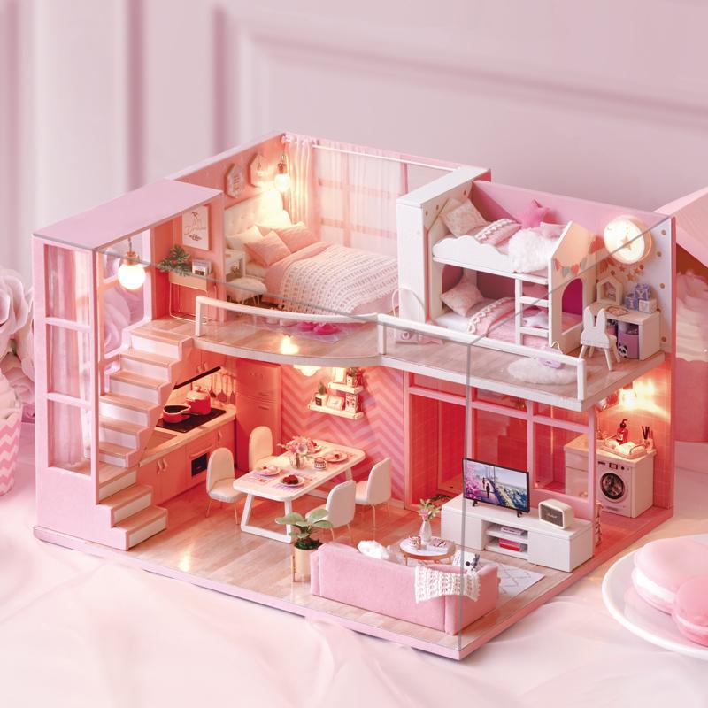 Mô hình nhà DIY Doll House Dream Angels Kèm Mica Chống bụi